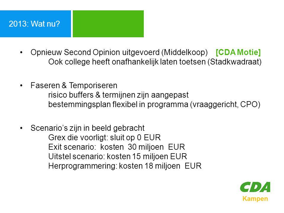 Agenda 2013: Wat nu Opnieuw Second Opinion uitgevoerd (Middelkoop) [CDA Motie] Ook college heeft onafhankelijk laten toetsen (Stadkwadraat)